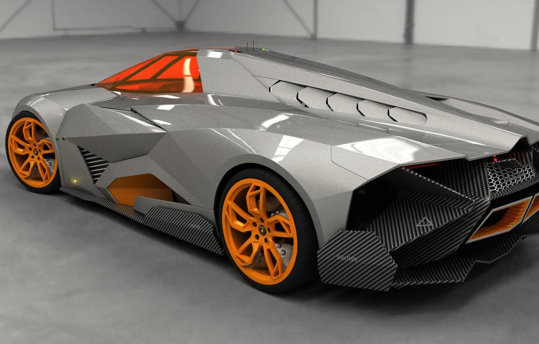Photo wallpaper Concept, Auto, Lamborghini, View, The concept, Top, Orange, Car, Back, 2014, Egoista
