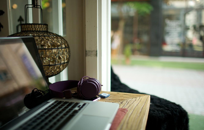 Photo wallpaper table, ipod, headphones, phone, laptop, iPod, still life, urban ears