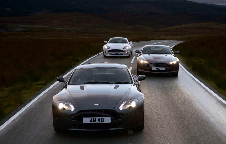 Photo wallpaper Road, Movement, Aston Martin V8
