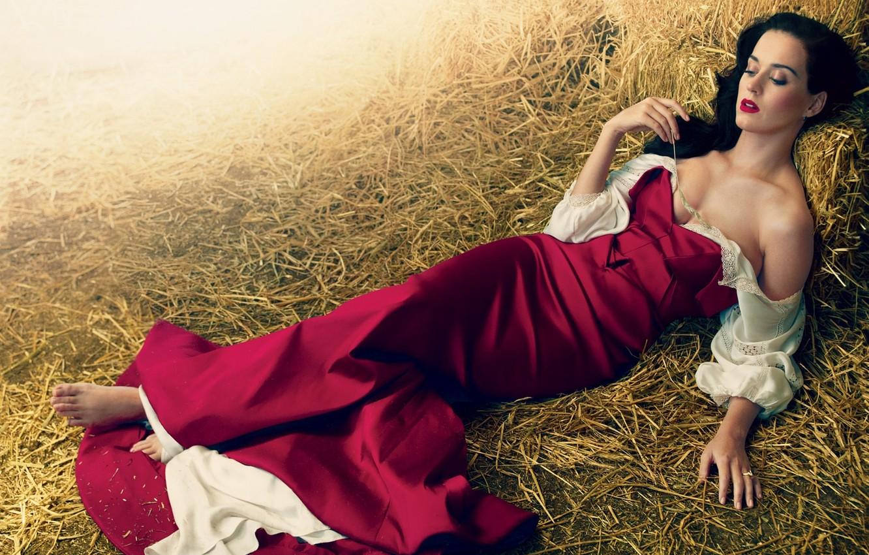 Photo wallpaper girl, dress, brunette, hay, Katy Perry, Katy Perry, singer, spike