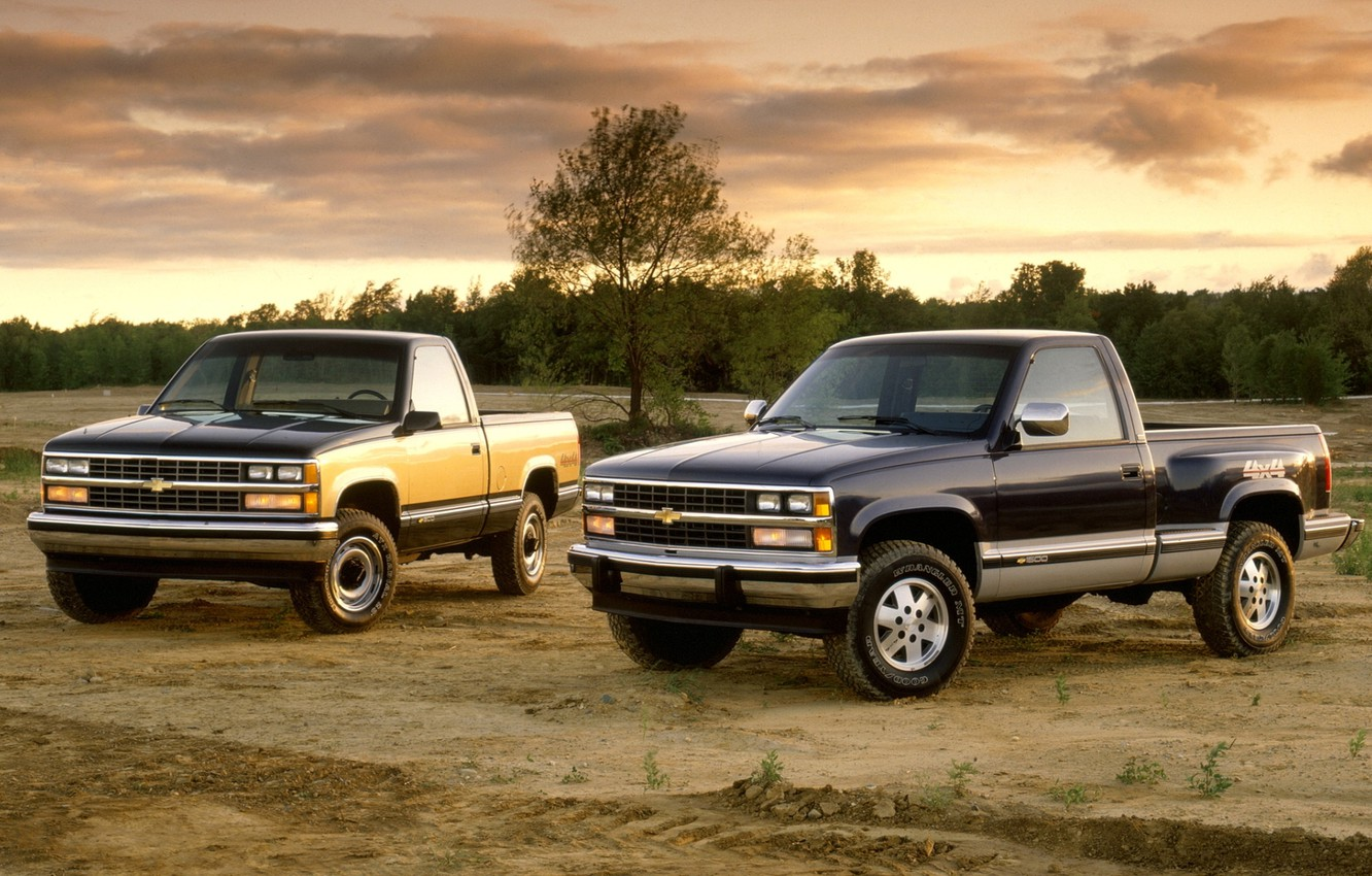 Photo wallpaper field, the sky, trees, Chevrolet, jeep, Chevrolet, pickup, the front, 1500, C/K, Regular Cab, 1988