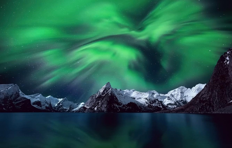 Photo wallpaper the sky, stars, snow, mountains, night, Northern lights, Norway, The Lofoten Islands