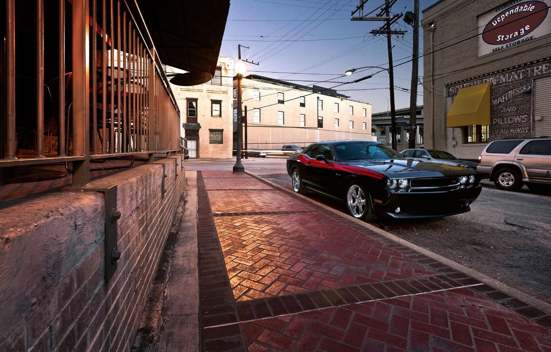 Photo wallpaper road, street, the sidewalk, dodge, challenger