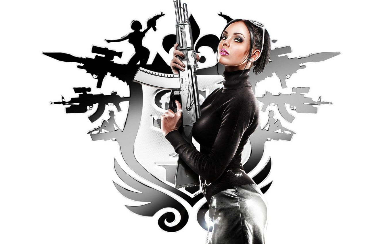 Photo wallpaper girl, weapons, saints row, the third