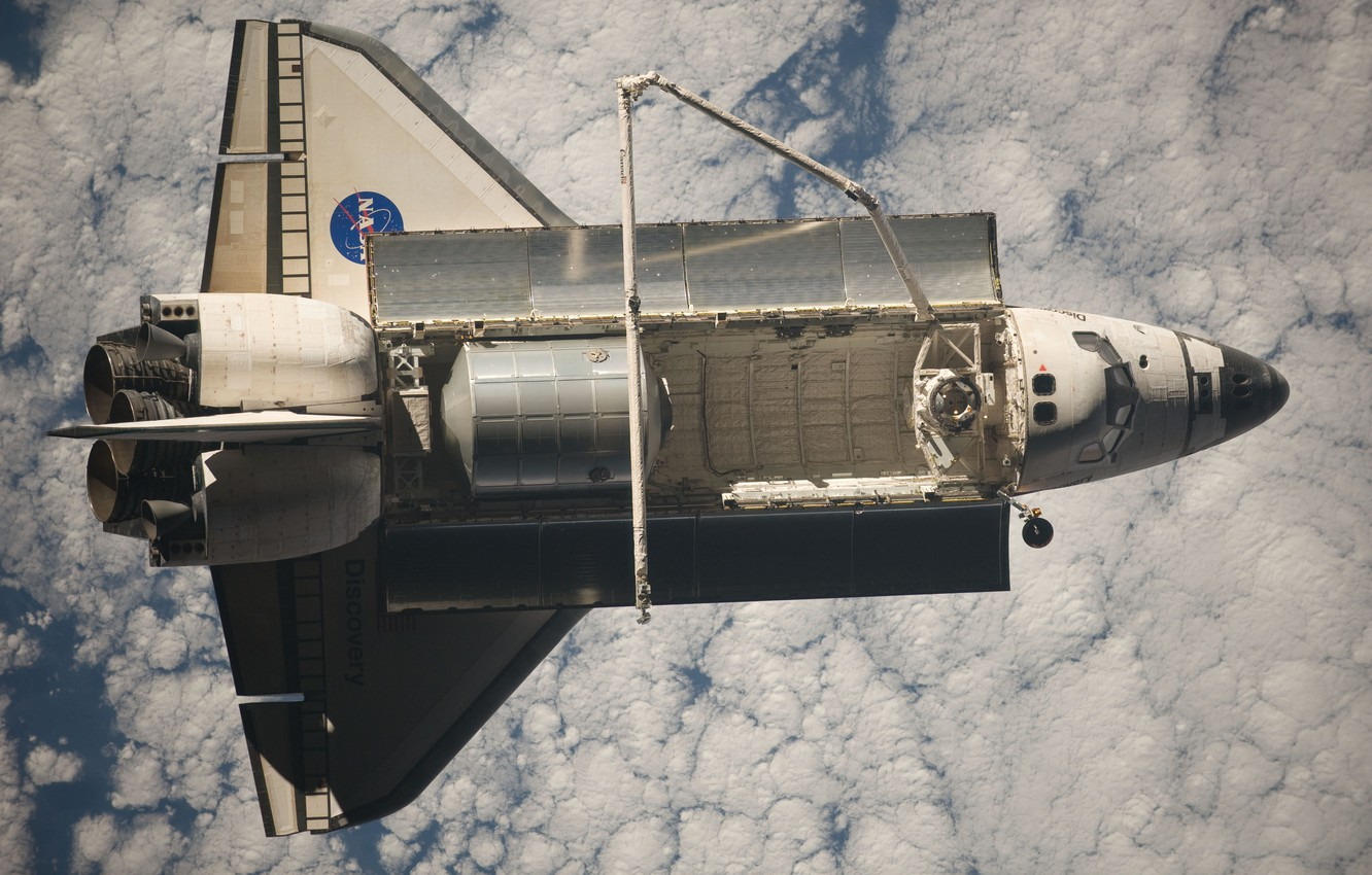 Photo wallpaper space, earth, ship, Discovery, space, Shuttle, transport, reusable