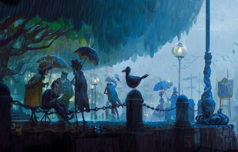 Photo wallpaper birds, Park, people, rain, street, the evening, art, lantern, umbrellas