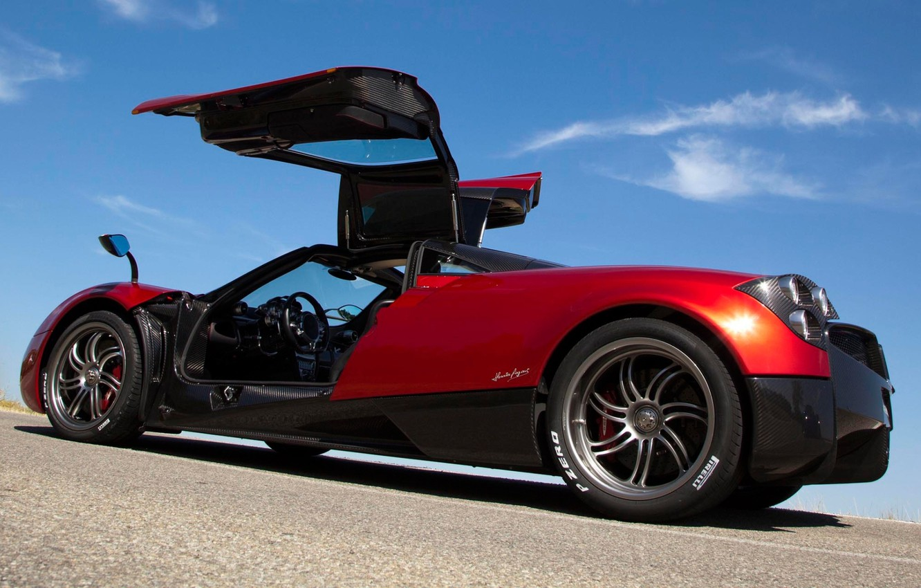 Photo wallpaper the sky, red, door, supercar, Pagani, rear view, Pagani, To huayr, Wire