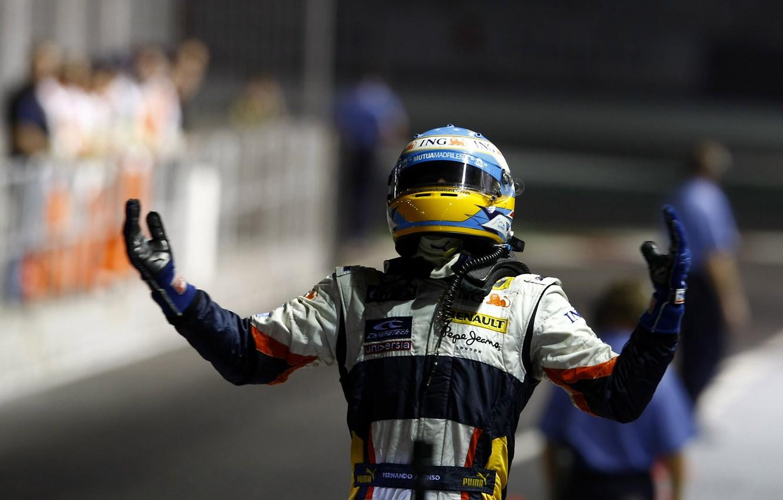 Photo wallpaper 2008, Singapore, Formula 1, Fernando Alonso, ING Renault F1 Team