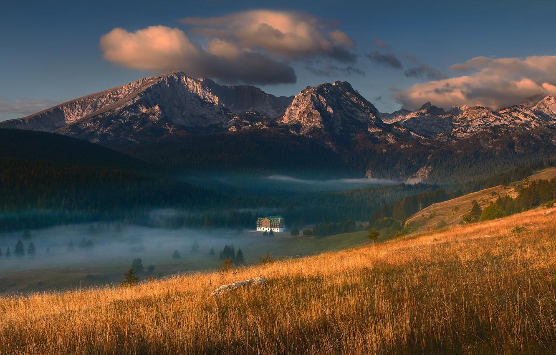 Photo wallpaper mountains, fog, house