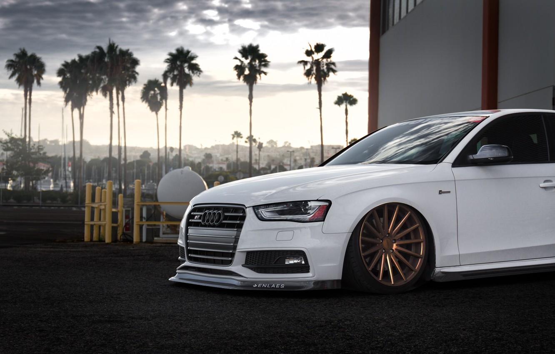 Photo wallpaper Audi, Car, Front, White, Stance, Vossen, Wheels, Tuned