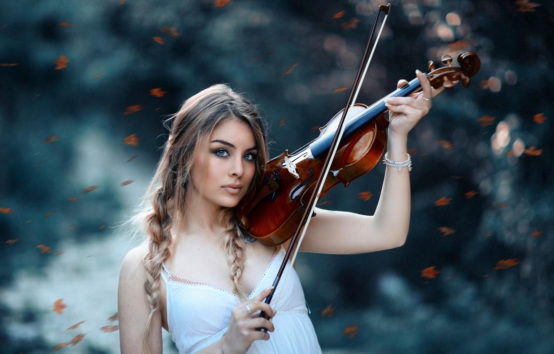 Photo wallpaper girl, violin, Alessandro Di Cicco, The autumn symphony