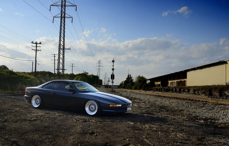 Photo wallpaper black, bmw, BMW, black, side view, e31, power line, 840cl