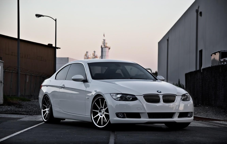 Photo wallpaper white, bmw, BMW, the evening, lantern, white, wheels, 335i, e92