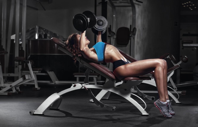 Photo wallpaper female, workout, fitness, gym, dumbbells, bodybuilder