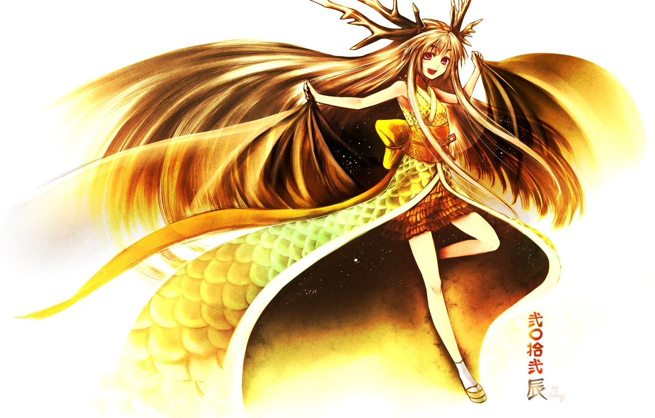 Photo wallpaper girl, joy, hair, wings, anime, art, horns, kimono, kotoba noriaki
