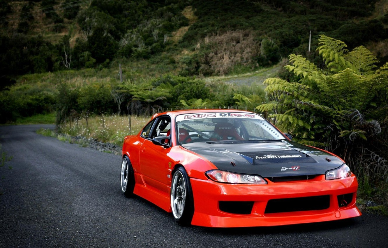 Photo wallpaper car, S15, Silvia, Nissan, trees, tuning, front