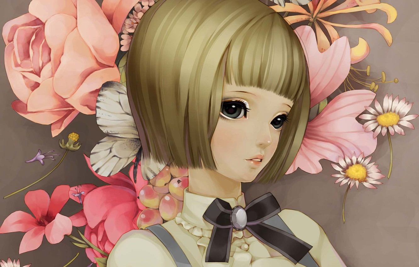 Photo wallpaper girl, flowers, face, butterfly, chamomile, art, peonies, dong xiao