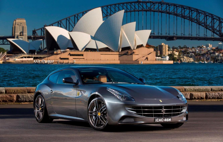 Photo wallpaper asphalt, bridge, river, grey, coupe, ferrari, Ferrari
