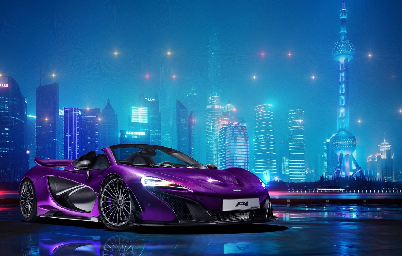 Photo wallpaper photoshop, McLaren, night city, hypercar, McLaren P1