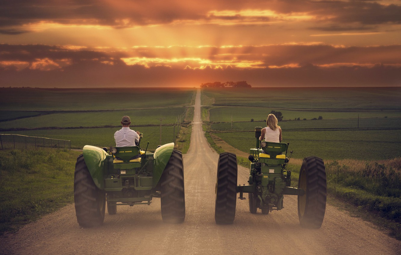 Photo wallpaper road, the way, field, tractor