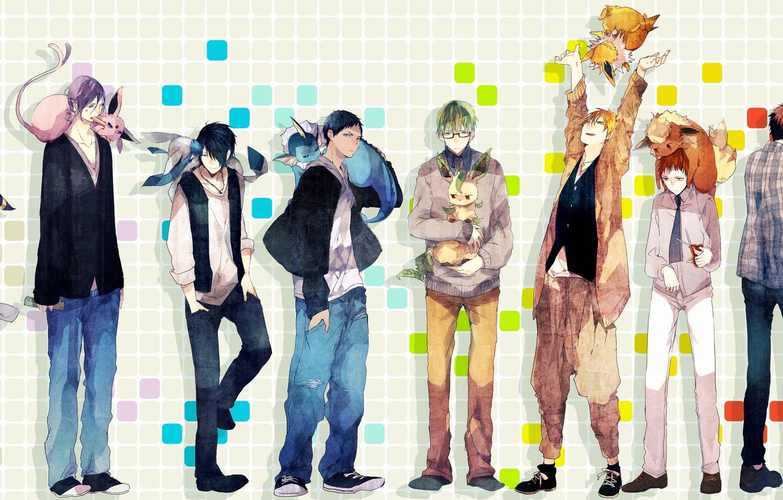 Photo wallpaper animals, sneakers, jeans, anime, art, tie, pendant, shirt, guys, sweater, pokemon, kuroko from basket, umbreon, …