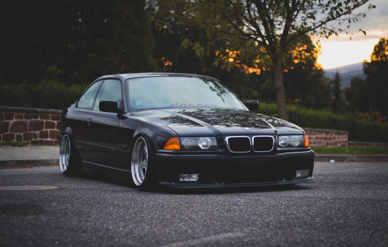 Photo wallpaper Road, BMW, BMW, oldschool, 3 series, E36, Stance
