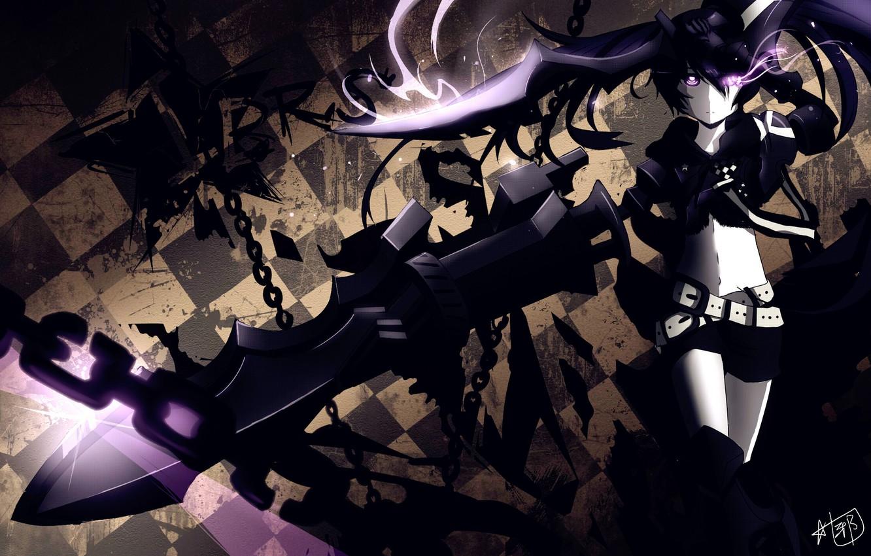 Wallpaper Girl Weapons Anime Art Chain Black Rock Shooter