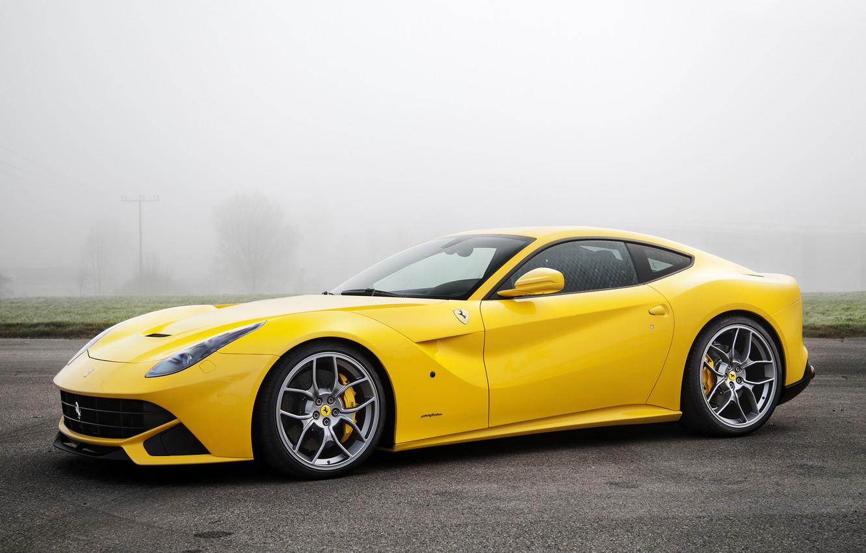 Photo wallpaper Ferrari, yellow, Novitec Rosso, F12berlinetta