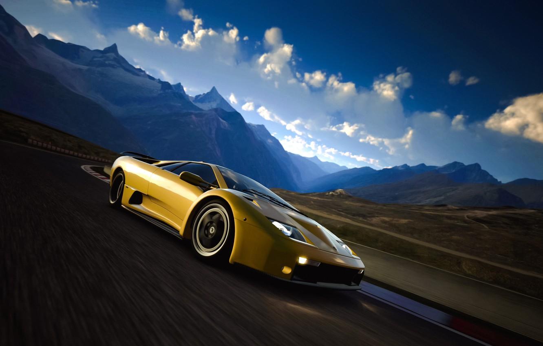 Photo wallpaper road, landscape, retro, coupe, Lamborghini, supercar