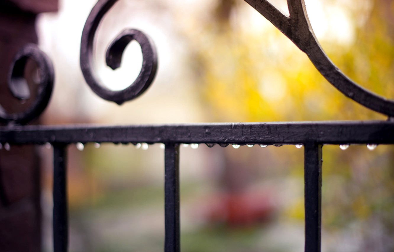 Photo wallpaper drops, macro, droplets, rain, the fence, fence, blur