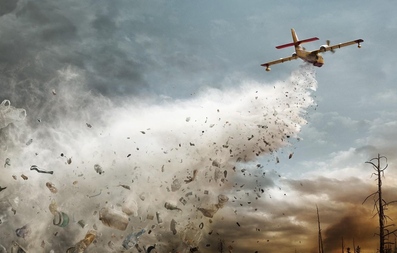Photo wallpaper garbage, the plane, throws