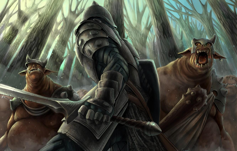 Photo wallpaper forest, sword, armor, warrior, art, monsters, m-black