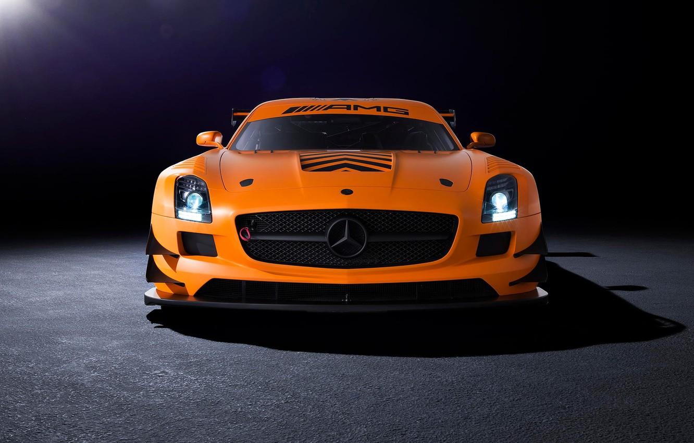 Photo wallpaper orange, Mercedes-Benz, AMG, SLS, GT3, front, orange, Mercedes Benz