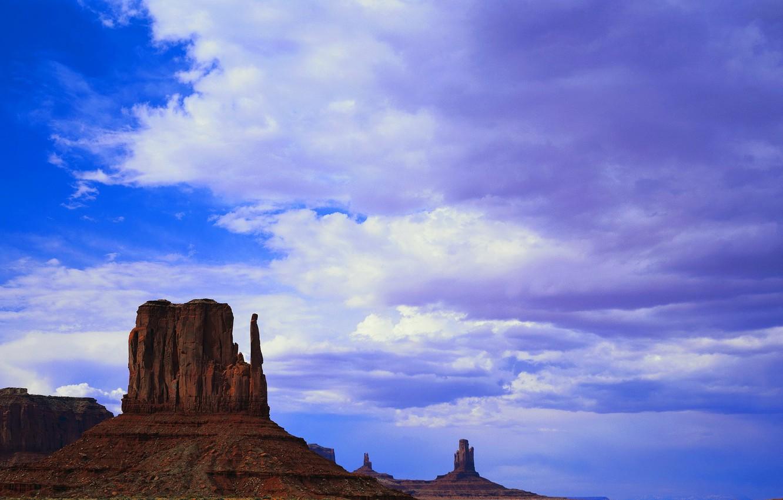 Photo wallpaper the sky, clouds, mountains, rocks, America, Prairie