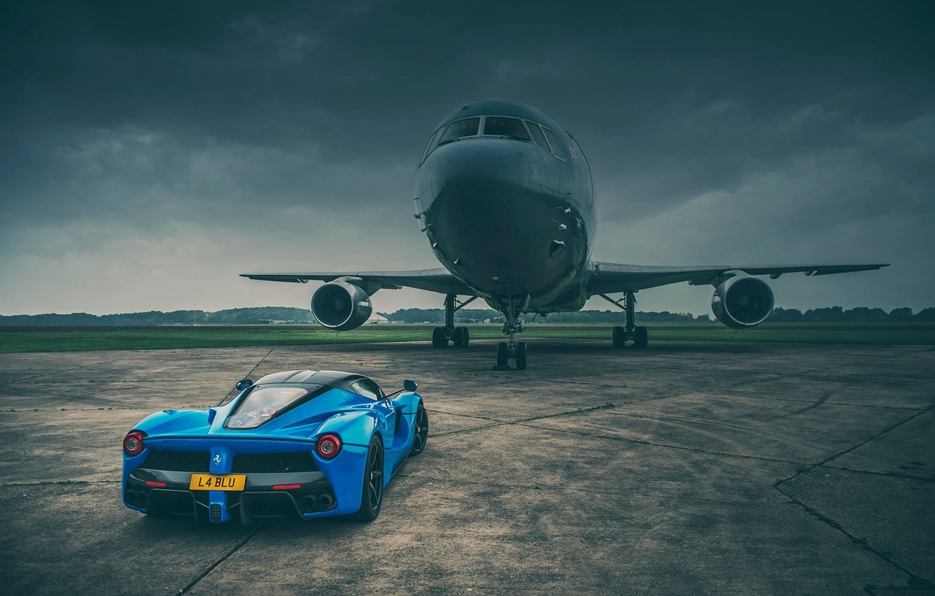 Photo wallpaper Ferrari, Blue, Supercar, LaFerrari, Plane, Rear, Runway