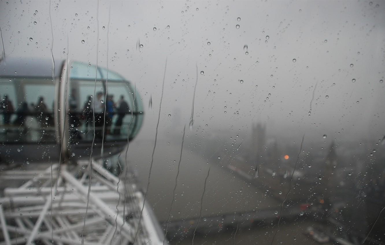Photo wallpaper glass, drops, city, the city, people, rain, moisture, London, attraction, london, london eye, booths