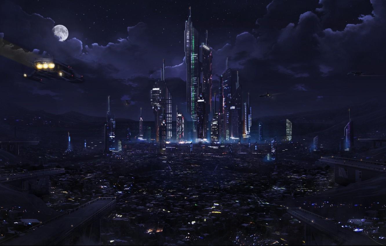 Photo wallpaper clouds, night, city, the city, lights, lights, future, fiction, The moon, future, Moon, fantasy, sky, …