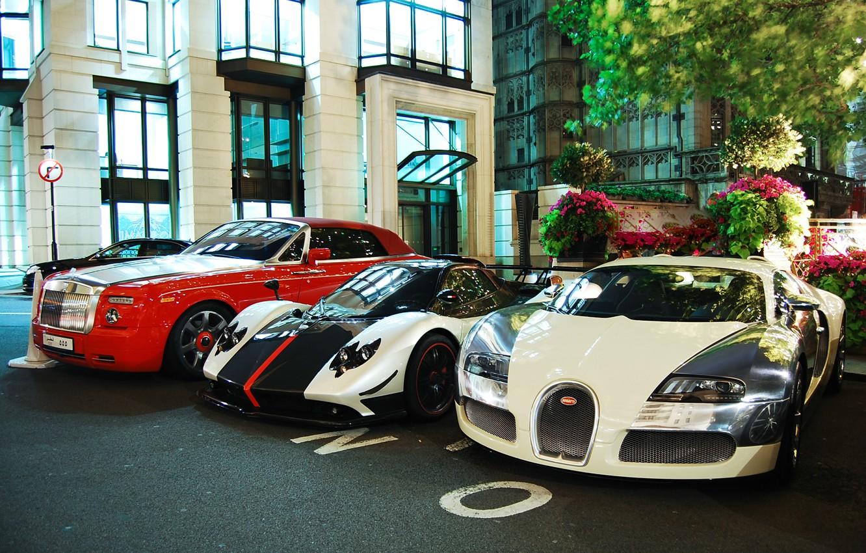 Photo wallpaper Rolls-Royce, Phantom, Bugatti, Veyron, Pagani, Zonda, Сoupe, Cinque, Centenary, Drophead, Roadste