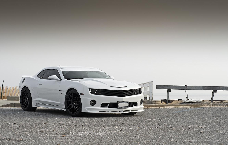 Photo wallpaper white, tuning, Chevrolet, Camaro, white, Chevrolet, muscle car, the front part, Camaro, Stillen