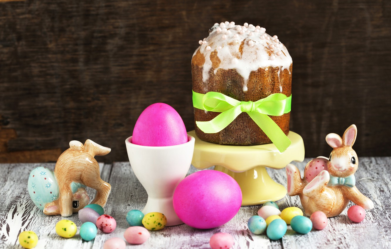 Photo wallpaper eggs, Easter, rabbits, Candy, cake, cakes, Easter, Baking