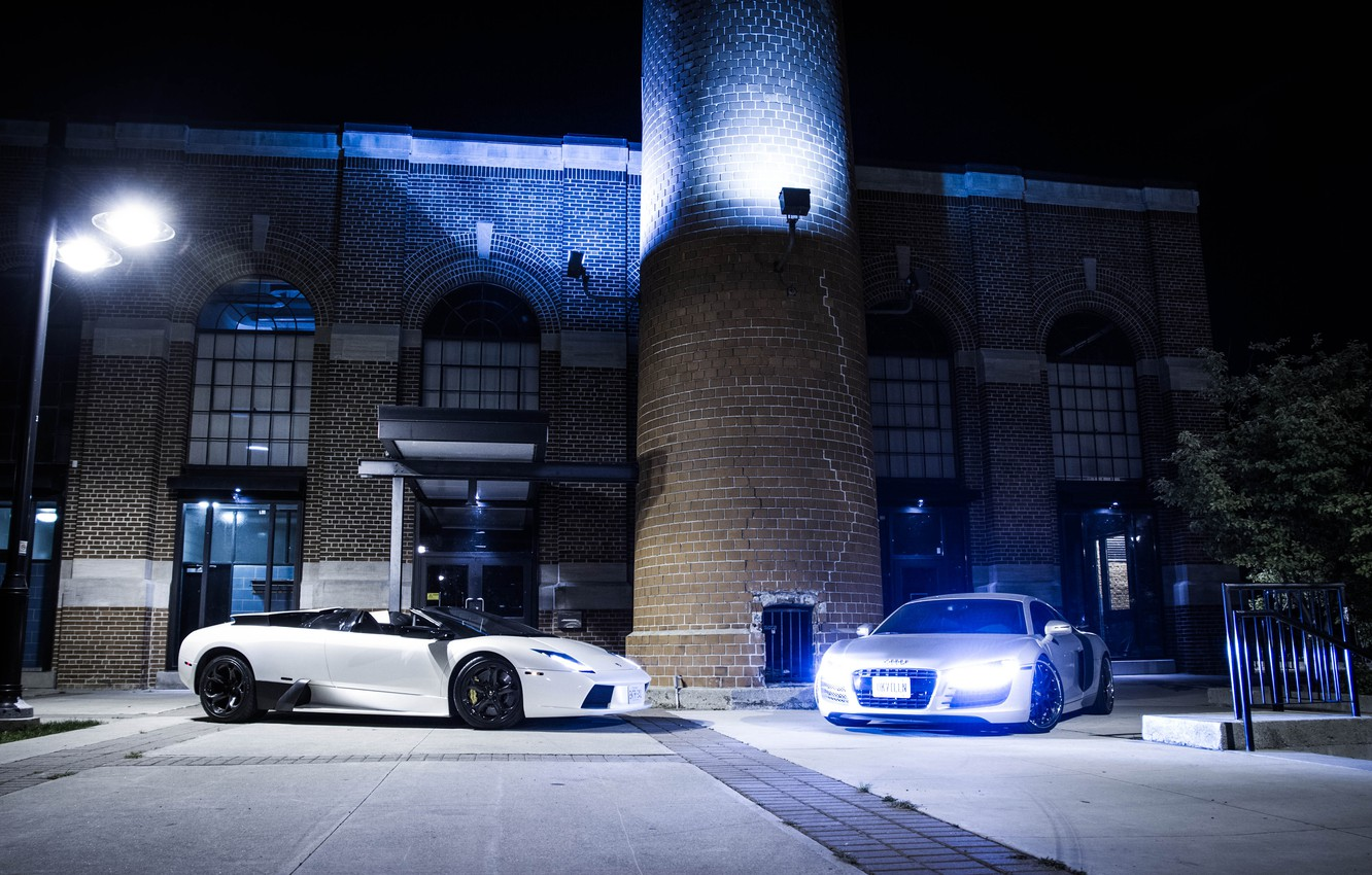 Photo wallpaper white, night, Audi, audi, silver, white, lamborghini, murcielago, lp640, spyder, headlights, Lamborghini, Murcielago