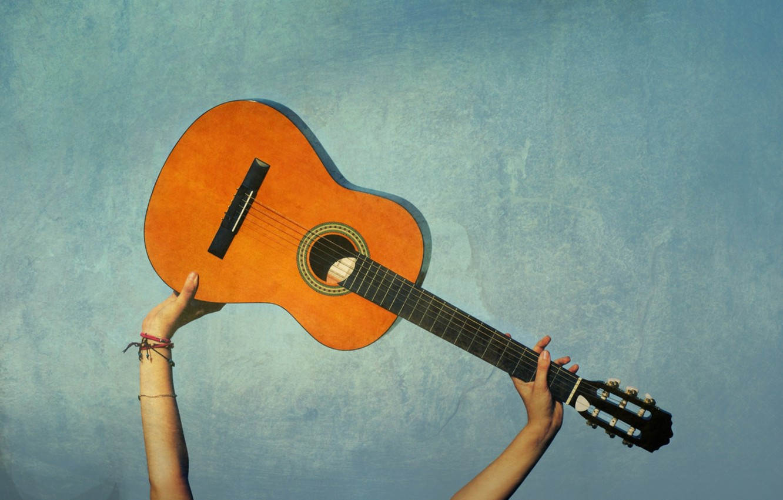 Photo wallpaper music, background, mood, blue, guitar, hands