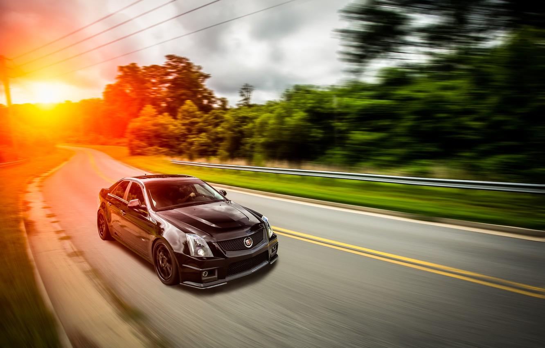 Photo wallpaper black, Cadillac, black, CTS-V, front, sun, Cadillac