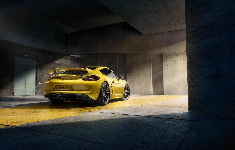 Photo wallpaper Porsche, Cayman, Yellow, Parking, Supercar, GT4, Rear, 2015