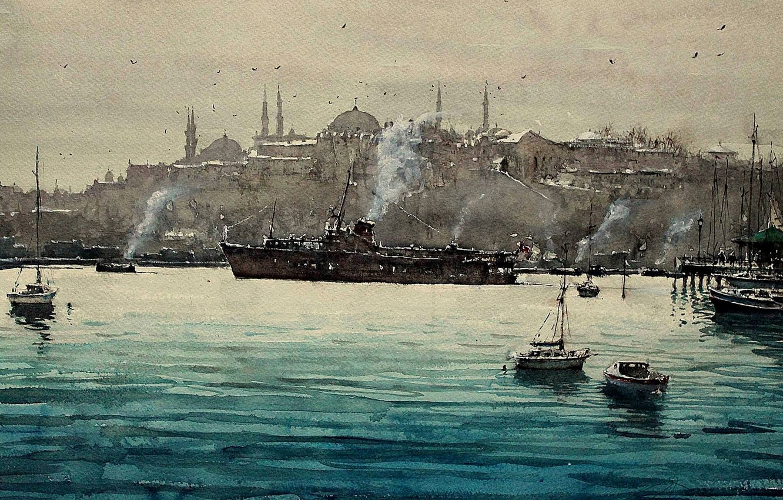 Photo wallpaper Strait, boat, ship, picture, watercolor, Istanbul, the urban landscape, The Bosphorus, Maximilian DAmico