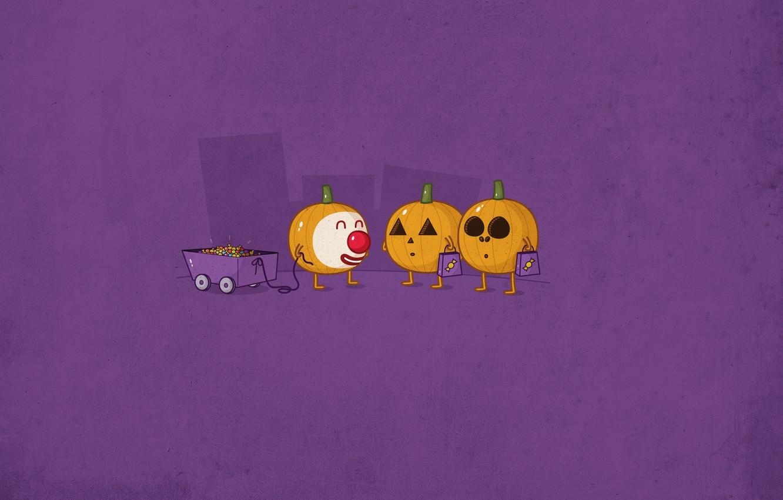 Photo wallpaper holiday, car, candy, pumpkin, Halloween, Halloween, smiley