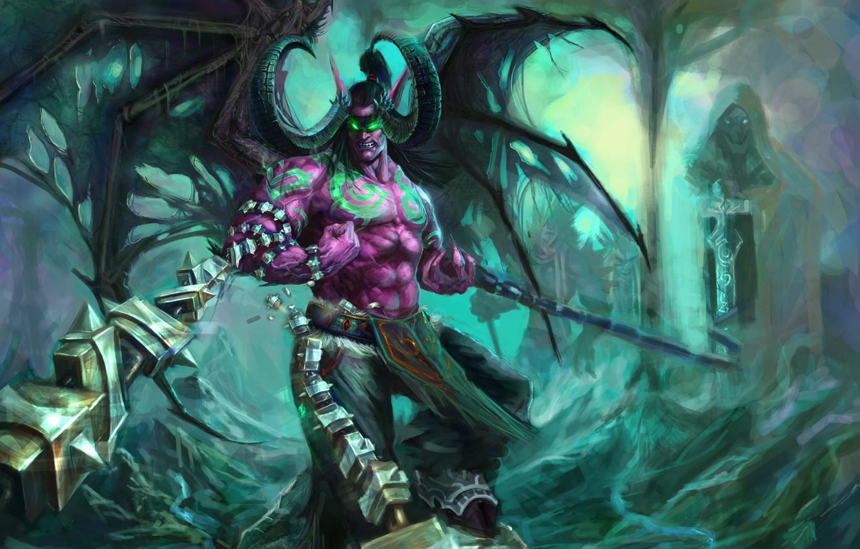 Photo wallpaper wings, the demon, rage, horns, WoW, Stormrage, chain, World of warcraft, illidan