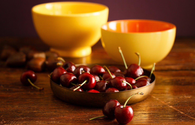 Photo wallpaper cherry, table, food, yellow, pair, fruit, still life, bowls, Wallpaper from lolita777