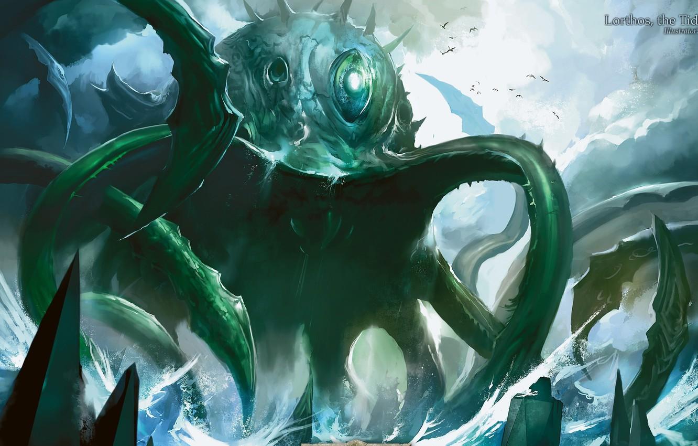 Photo wallpaper monster, octopus, giant