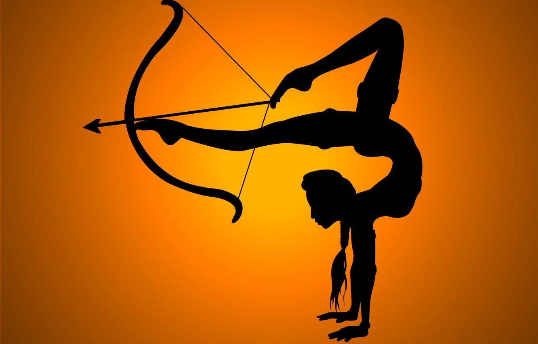 Photo wallpaper girl, flexibility, shadow, bow, arrow, legs